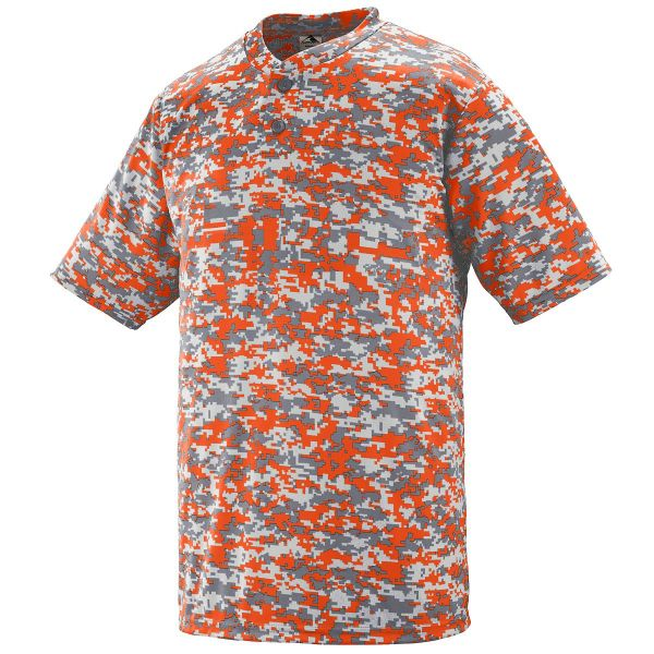 Augusta Adult Digi Camo Wicking Two-Button Baseball Jersey
